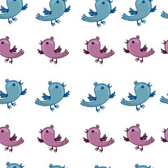 pattern with blue and pink birds are singing
