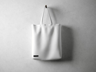 White cotton textile bag holding, neutral background. Horizontal 3d render