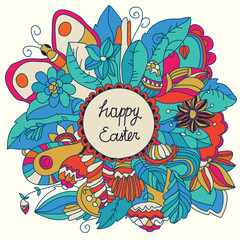 vector colorful beautiful floral background with flowers circle butterfly and a happy Easter!