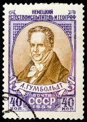 USSR - CIRCA 1959: A stamp printed in USSR shows portrait of Humboldt - German naturalist and geographer, circa 1959