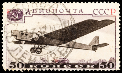 USSR - CIRCA 1989: A stamp printed in USSR shows airmail plane, series, circa 1989