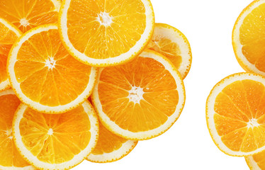 Orange slices isolated on white background. Top view.