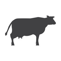 cow black simple icon on white background for web