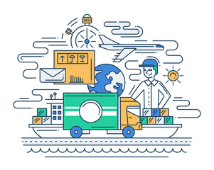 Delivery service line flat design illustration with delivery man.