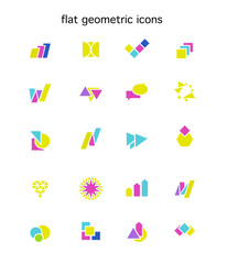 Collection of flat colorful abstract geometric icons