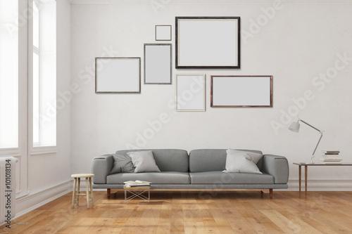 viele leere rahmen an wand ber sofa stockfotos und lizenzfreie bilder auf bild. Black Bedroom Furniture Sets. Home Design Ideas