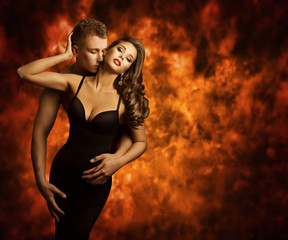 Sexual Couple, Passion Man Kiss Sensual Woman to Neck, Love Flam