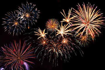 Fireworks on the black sky