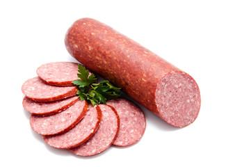 Smoked sausage salami isolated