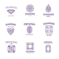 Jewelry logo collection with gem icons