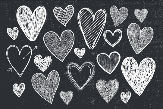 vector set of hand drawn doodle hearts, black and white, blackboard