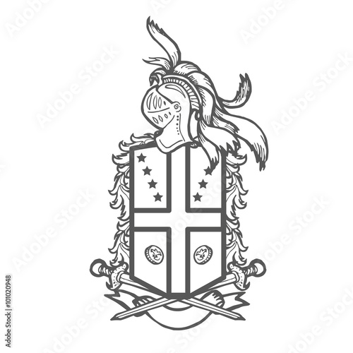 Heraldry Hand Drawn Coat Of Arms Template Stock Photo And Royalty