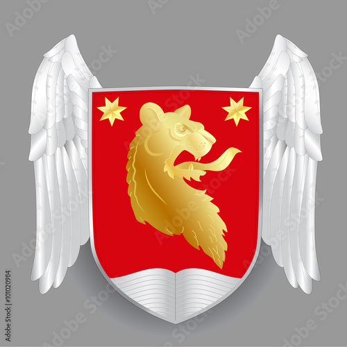 Heraldry Coat Of Arms Template Design With Lion Head Red Shield Stars And Wings