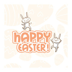 Vector easter card with cute cartoon rabbits  and pink text.