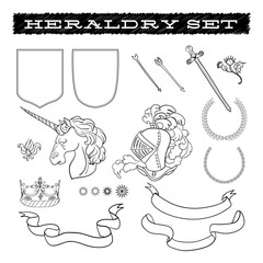 Heraldry coat of arms elements template collection.