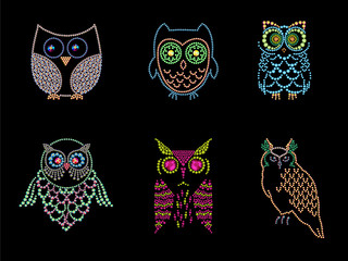 Collection of different owl characters made with colorful rhinestones on black background.
