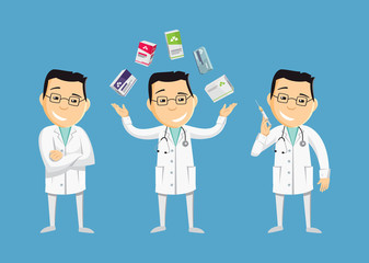 Set of funny caricatures doctor in various poses. Collection gestures. Vitamins and antibiotics. Injection. The best medical health care. Funny vector flat simple illustration.