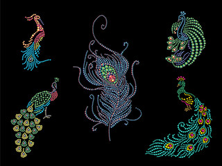 Collection of peacock birds silhouettes made with colorful rhinestones.
