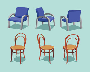 Collection types seating. Office chair and cafe vintage wooden chair. Variable views. Simple cartoon isolated vector illustration.