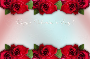 Parallel borders of red roses together with Happy Valentine's Day