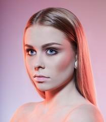 Beautiful sexy woman model fashion make-up, blonde straight hairstyle