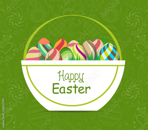 easter card template basket with colored eggs and flowers stock
