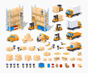 Warehouse. 3D lowpoly isometric vector illustration. The set of objects isolated against the white background and shown from different sides