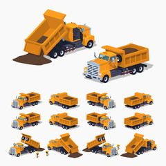 Loaded orange dumper. 3D lowpoly isometric vector illustration. The set of objects isolated against the white background and shown from different sides