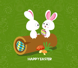 Easter card background - log with colored eggs and bunny