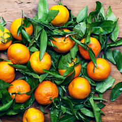 Mandarins Tangerines Closeup. Fresh tangerine clementine on the