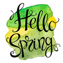 Hand drawn lettering Hello Spring.