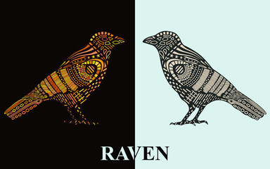 Raven silhouette with  original pattern on the body.