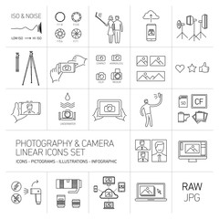 linear vector photography and camera icons set black isolated on