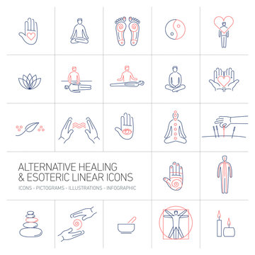 alternative healing and esoteric linear icons set blue and red o