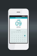 Smartphone with calendar.