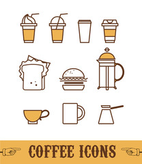 Collection of flat simple coffee icons