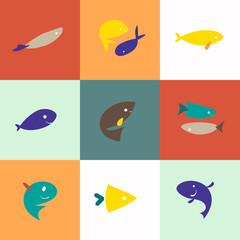 Flat simple fish icons