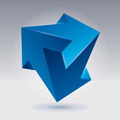 Impossible shape, unreal arrows, 3 arrows vector, color crystal, abstract vector object