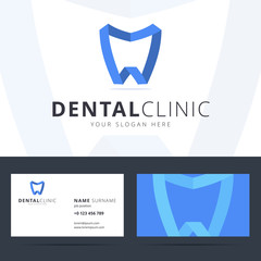 Logo and business card template for dental clinic.