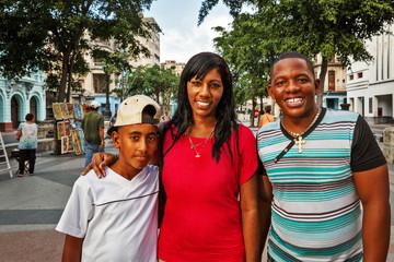 Cuba, La Habana, Family at Paseo de Martí (Prado)