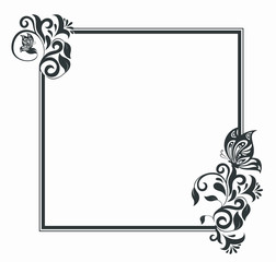 rectangular background with  golden ornate frame with floral elements of decoration