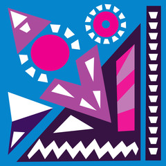 Hand draw acrylic painting. Bright background. Ethnic African or Mexican motive. Colorful template of geometric shapes. Abstract art painting.Blue, purple,pink colors Vector illustration.