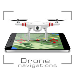 Drone navigations concept. Realistic air drone quadrocopter with camera with control management smartphones.