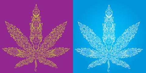 cannabis marijuana decorative textured leaf symbol
