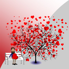 Love tree and man