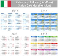 2017 Italian Mix Calendar Mon-Sun on white background