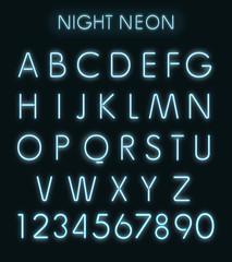 Vector Blue light neon alphabet in dark