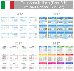 2017 Italian Mix Calendar Sun-Sat on white background