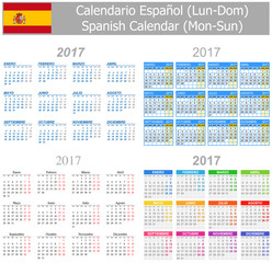 2017 Spanish Mix Calendar Mon-Sun on white background