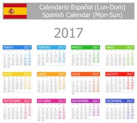 2017 Spanish Type-1 Calendar Mon-Sun on white background
